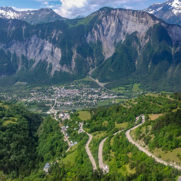 Alpe d'Huez switchbacks above Bourg d'Oisans