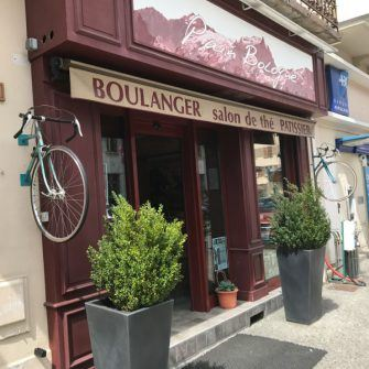 Boulangerie in Bourg d'Oisans with bicycles