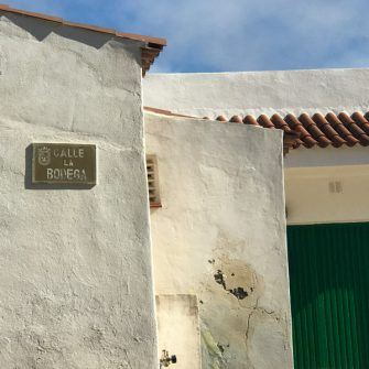 Whitewashed walls against green door in traditional northern coast of Tenerife