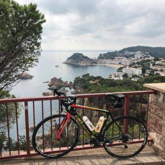 Bike and view back to Tossa del Mar, Costa Brava