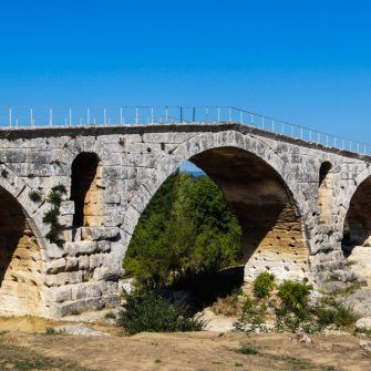 Pont Julian roman bridge near the cycling path, Luberon National Park, France