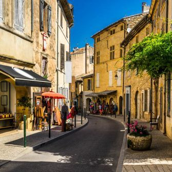 A winding street in Lourmarin, Luberon National Park, France