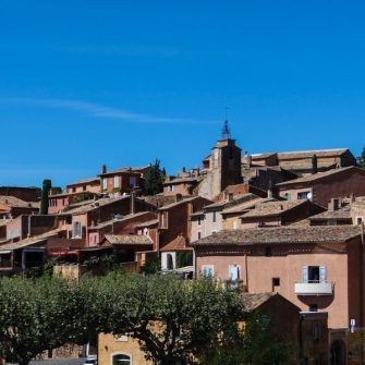 The pink buildings of Rousillon village, Luberon, France