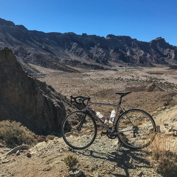 Lava fields you pass while cycling Teide