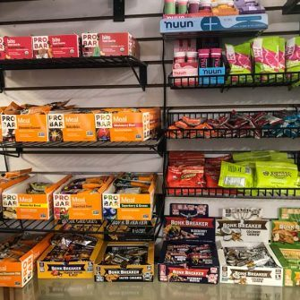 Cycling bars and gels on sale in Dr Js bicycle shop Solvang, Santa Barbara county