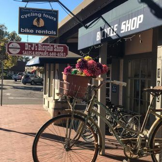 Exterior of Dr Js bike shop, Solvang, Santa Barbara County