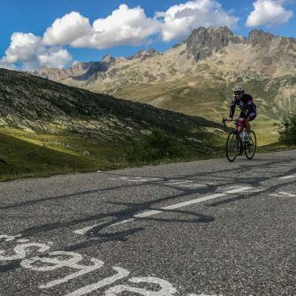 Approaching the summit of the Croix de fer, French Alps