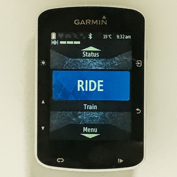 Garmin bike computer 520 showing ride screen on display
