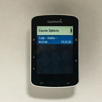 Course screen on garmin edge 520