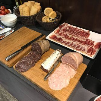 Cold meat selection for breakfast at Hotel Nord