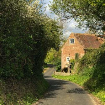 Quiet country lanes around Mottistone in south Isle of Wight