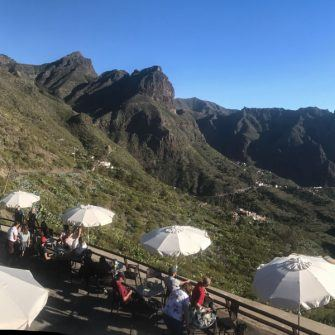 View back over the Masca valley from a restaurant