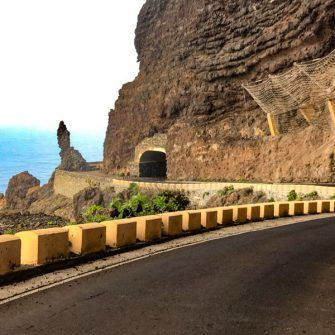 Road to Punta de Teno lighthouse in Tenerife, approaching a tunnel