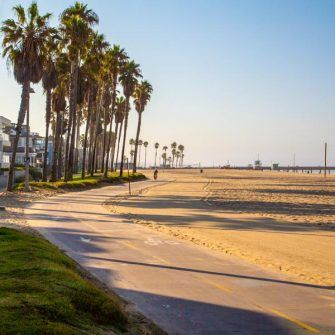 Bike path along Santa Monica beach