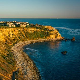 Cliffs along the Pacific Ocean at Pelican Cove, in Ranchos Palos Verdes near LA