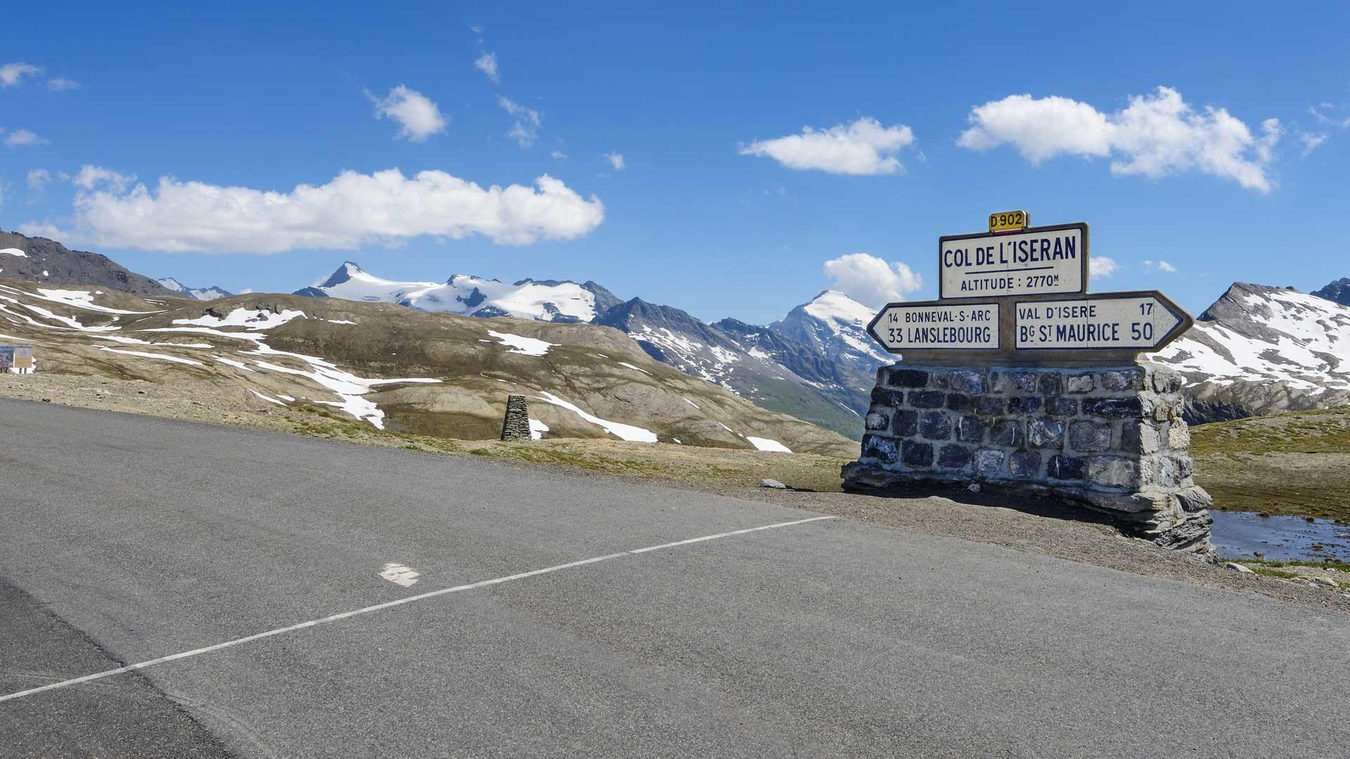 Summit of the Col de l'Iseran cycling climb, France