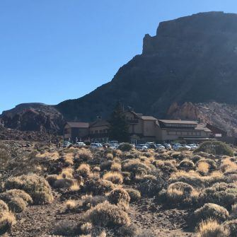 Parador with Mount Teide backdrop in afternoon sun