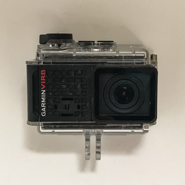 Garmin bike camera shown with waterproof case