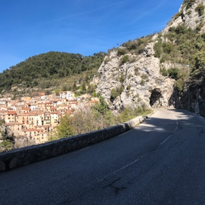 The road to Peille, through a stone tunnel