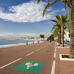 Bike path on the Promenade des Anglais on a quiet sunny day