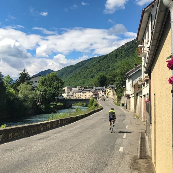 The pretty village of Arreau at the foot of the Col d'Aspin