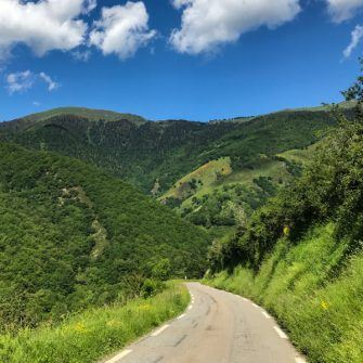 Narrow road leading up the Col d'Aspin