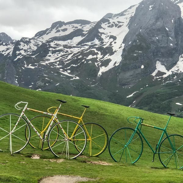 Brightly coloured bicycle statues on the Col d'Aubisque