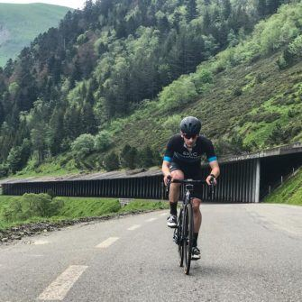 Cycling past avalanche tunnels before La Mongie, Col du Tourmalet