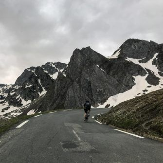 Cycling into the grey mountains of Col du Tourmalet