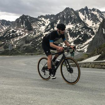 Cyclist on the last hairpins of Col du Tourmalet
