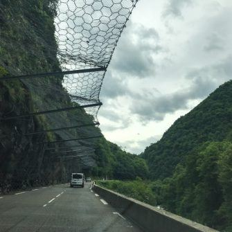 Gorge de Luz with overhead netting to stop rockfalls hitting road