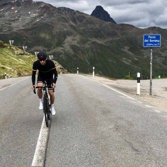 Bernia Pass in Switzerland in old school cycling jersey