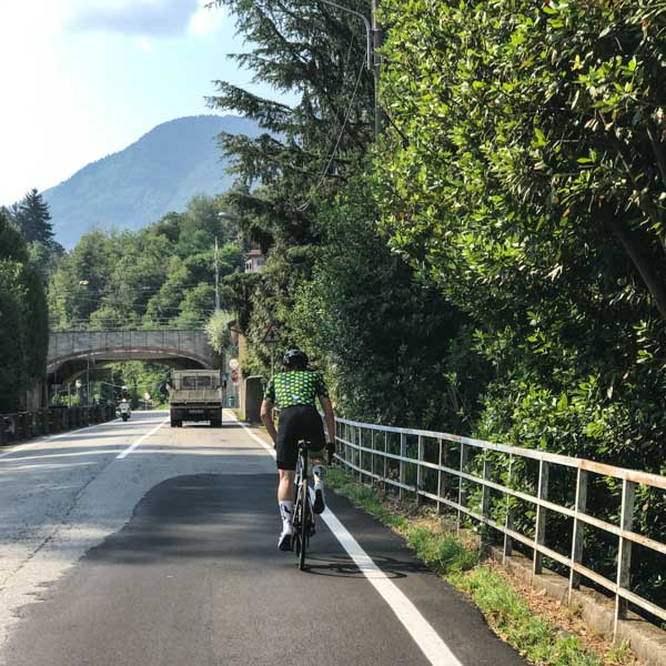 Leaving Lake Maggiore behind on the route of the UCI Gran Fondo World Championships road race 2018