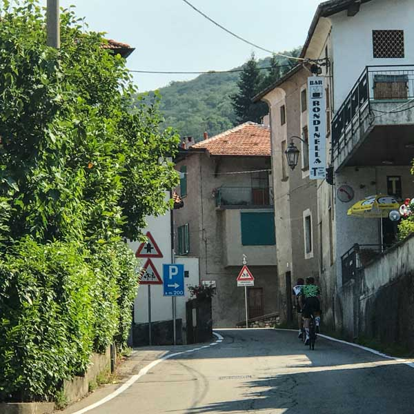 Cycling into the hills after Lake Maggiore on the route of the UCI Gran Fondo World Championships road race 2018