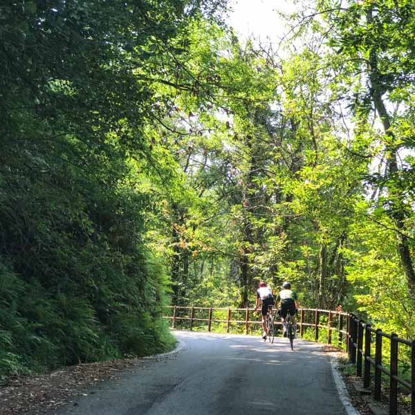 Cycling the Rogiano Valtravaglia climb on the UCI Gran Fondo road race coures