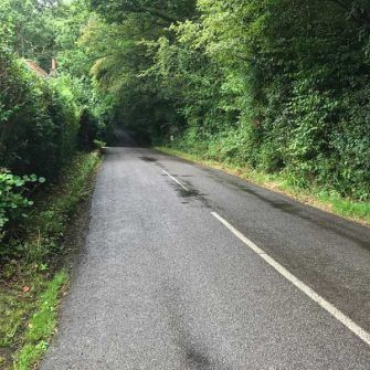Lumpy road near Dial Green on Velo South course