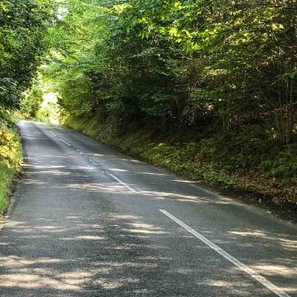 The straight stretch up Rogate Hill on Velo South course