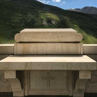 First world war monument on climb up stelvio by bike