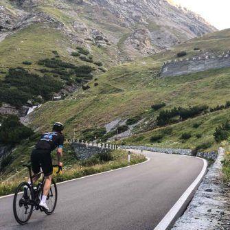 Steep climb up switchback section on Stelvio Bormio side