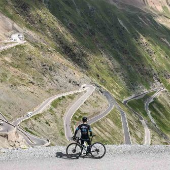 View of the 48 bends of Passo dello Stelvio from Prato allo Stelvio