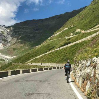 Switchbacks on Stelvio Pass Prato side