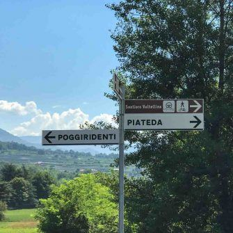 Signpost on the Sentiero Valtellina bike path Bormio-Como