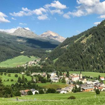 View down to Santa Maria in Switzerland from Umbrail Pass