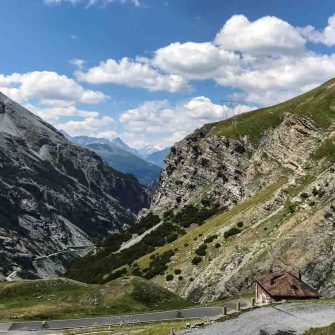 Spectacular view down Stelvio towards Bormio