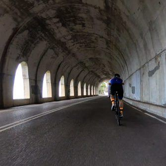 Cyclist in tunnel when descending to see after Andratx