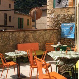 Outside terrace of Sa Ruta Verda Mallorca coffee shop for cyclists