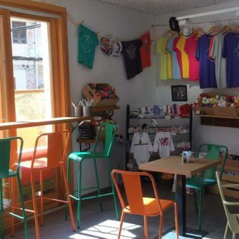 Inside Sa Ruta Verda Mallorca coffee shop for cyclists