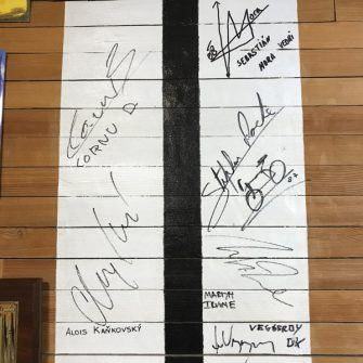 Finish line signed by world champions at cycling planet alaro mallorca