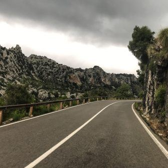 Dramatic rocky scenery descending Coll de Femenia