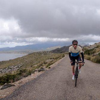 Nearing the top of the Talaia d'Albercutx climb by bike Mallorca